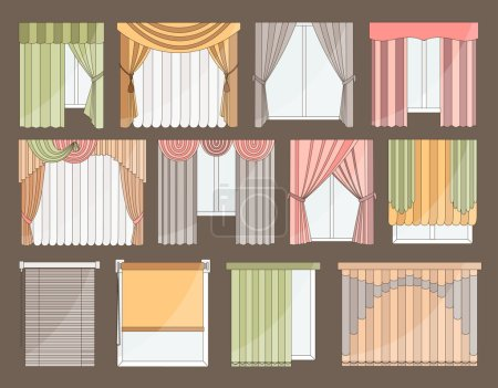 Illustration for Collection of Different curtains and blinds for interior design - classic, horizontal and vertical blinds, Roman, draped, tulle. Big set of curtains on the windows isolated on color background. - Royalty Free Image