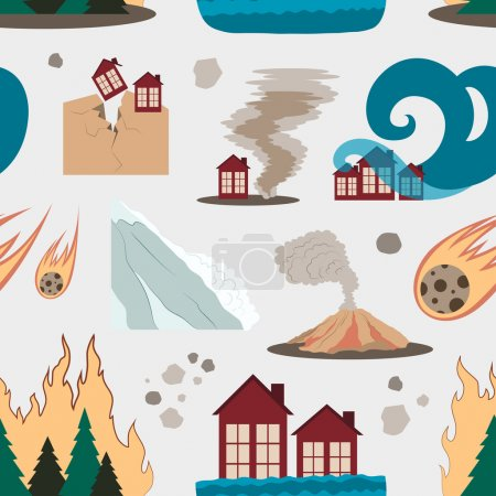Illustration for Natural disaster icon set pattern with tsunami snow storm thunder isolated vector illustration - Royalty Free Image