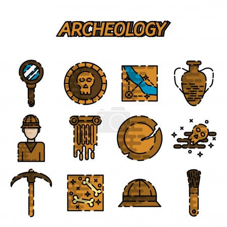 Archeology flat icon set