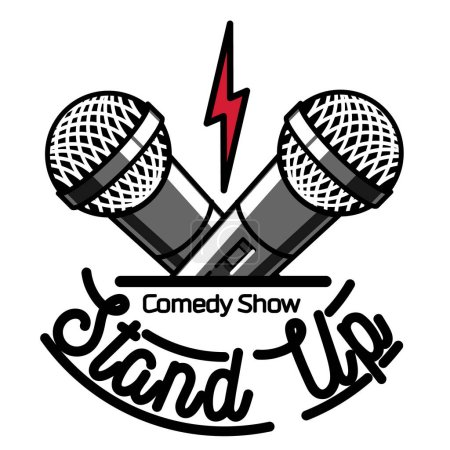 Illustration for Color vintage Stand up comedy show emblem, logo and badge at white background. - Royalty Free Image