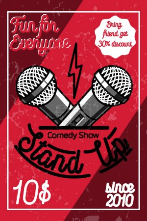 Illustration for Color vintage Stand up comedy show poster. Vector illustration, EPS 10 - Royalty Free Image