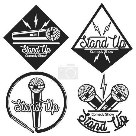 Illustration for Set of vector stand up comedy logos and badges at white brick background. Modern and retro microphones. Hipster style labels and banners for print and web design. - Royalty Free Image