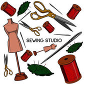 Colored hand drawn sewing icons set