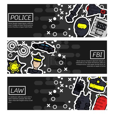 Illustration for Set of Horizontal Banners about police vector illustration - Royalty Free Image