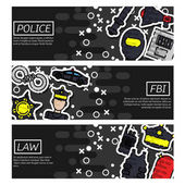 Set of Horizontal Banners about police