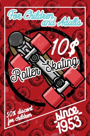Color vintage roller Skates poster