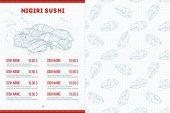 Color horisontal sushi menu