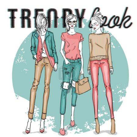 Illustration pour Ensemble vectoriel avec dessin couleur des filles à la mode. Illustration de mannequins élégants et stylisés - image libre de droit