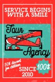 Color vintage tour agency banner Travel agency Vector illustration EPS 10