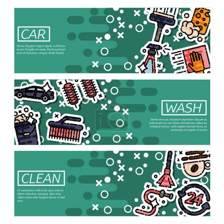 Set of Horizontal Banners about car wash