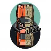 Color vintage car wash emblem