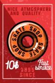 Color vintage skate shop banner Skate themed design elements for your project Stock vector