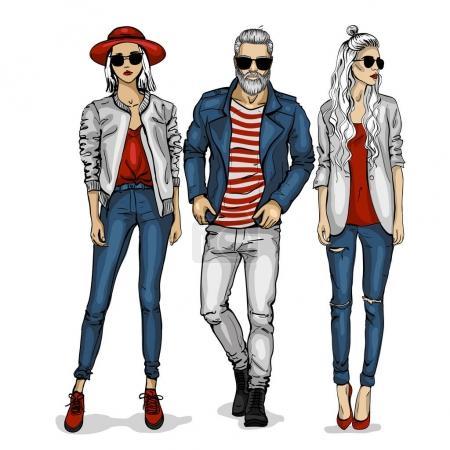 Illustration pour Vecteur homme et deux mannequins femme vêtus de jeans, croquis, mode ville - image libre de droit