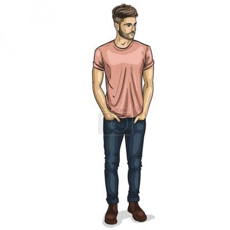 Illustration pour Modèle vectoriel homme vêtu de chaussures en jean et t-shirt - image libre de droit