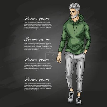 Illustration pour Modèle vectoriel homme vêtu de pantalon, sweat à capuche et baskets sur fond sombre - image libre de droit