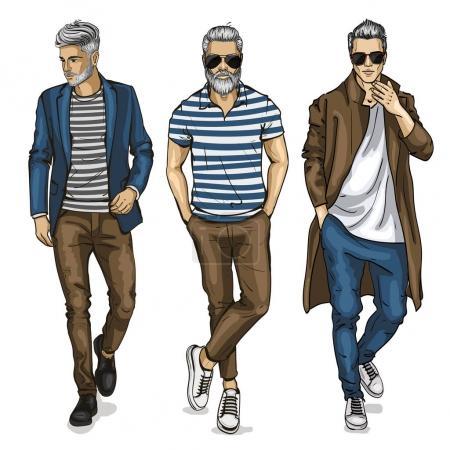Illustration pour Mannequins vectoriels homme habillés en jeans, croquis, tenue hipster - image libre de droit