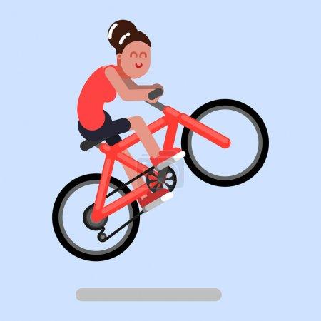 Illustration pour Une femme saute sur un vélo. Illustration vectorielle, EPS 10 - image libre de droit