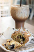 Blueberry muffin and iced coffee mocha