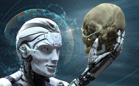 Photo pour Robot avec Intelligence artificielle observant un crâne humain dans le monde d'organisme cybernétique a évolué. rendu 3D de l'image - image libre de droit