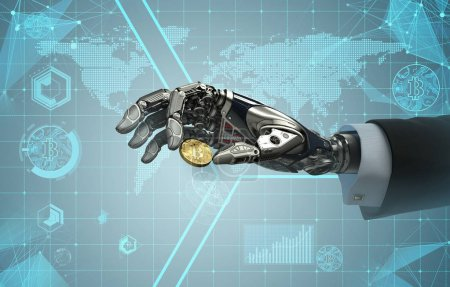 Photo for Robotic arm taking bitcoin against digital hud background. Artificial intelligence in virtual world. Electronic commerce business design. 3d rendering - Royalty Free Image