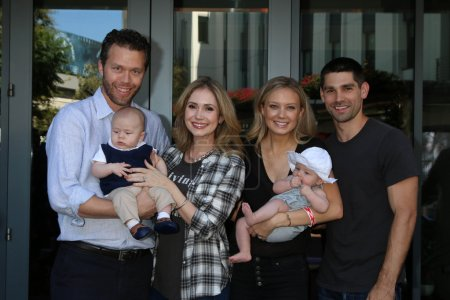 Photo for Joel Henriques designer, Justin Gaston actor and their families, Ashley Jones actress, Melissa Ordway actress. Olivia Gaston, at the 5th Annual Red Carpet Safety Awareness Event, Sony Picture Studios, Culver City, CA 09-24-16 - Royalty Free Image