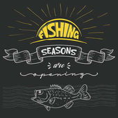 Inscription announcement about fishing Season opening Vector i