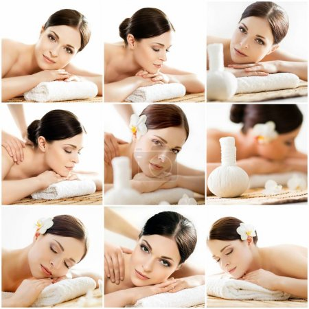 Collage of young woman on spa massage