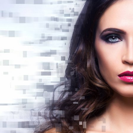Beautiful woman with digital pixels mosaic