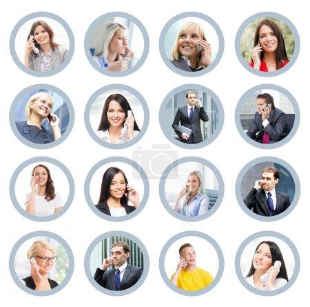 Foto de Collage de negocios con espacio de copia. Gente joven hablando por los teléfonos - Imagen libre de derechos