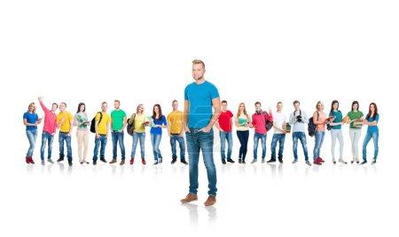 Large group of teenage students