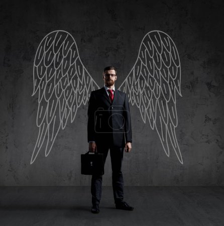business angel with hand drawn wings