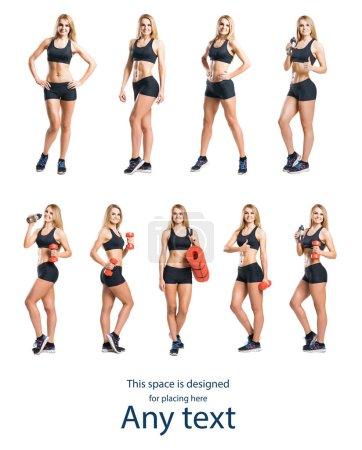 Fit and sporty woman in black sportswear