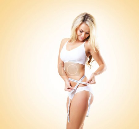 blonde woman in white lingerie