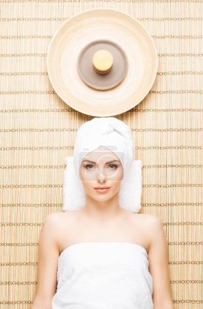 young woman on spa aromatherapy procedure