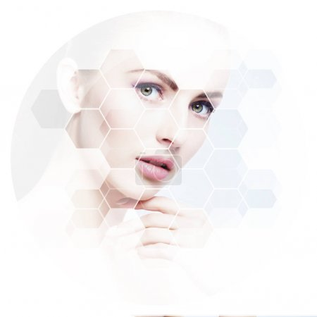 face of young woman in honeycombs. Plastic surgery, medicine, spa and face lifting concept