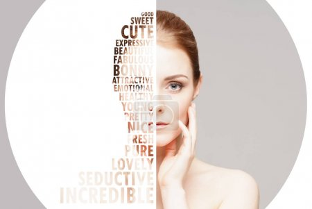 collage of young, fresh woman with letters. Plastic surgery, beauty and cosmetics and medicine concept. Word mosaic