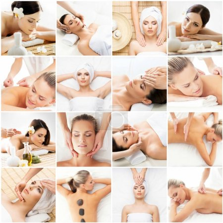 Collage with young and healthy women relaxing in spa salon. Traditional oriental aroma therapy and massaging treatment. Healthcare and medicine concept