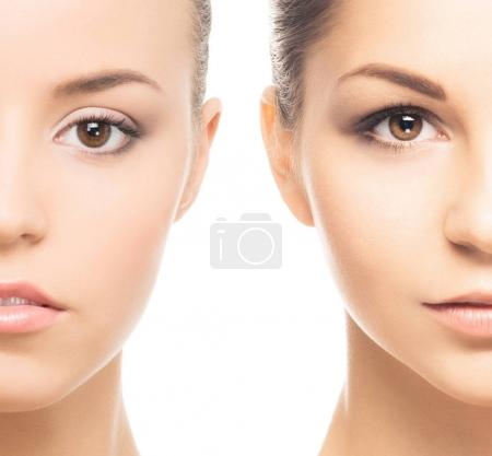Close-up collage of two female portraits. Face lifting, skincare, pampering and spa concept