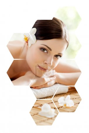Photo for Young and beautiful woman in spa. Collage with honeycomb mosaic tiles. Healing and massaging concept. - Royalty Free Image