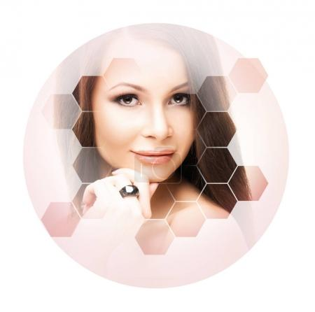 Facial portrait of young and healthy woman in honeycomb mosaic. Plastic surgery, skin care, cosmetics and face lifting concept.
