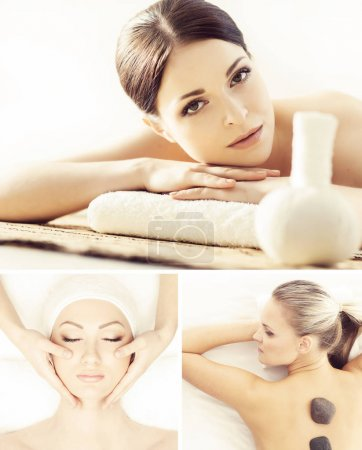 Massage and spa collection. Health care, healing and medicine concept. Beautiful women in spa. Hot stones, massaging balls and vacuum cupping.