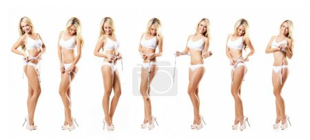 Fit and sporty girl in white underwear. Beautiful and healthy woman measuring her body isolated on white. Sport, fitness, diet, weight loss, nutrition and healthcare concept. Set collection.