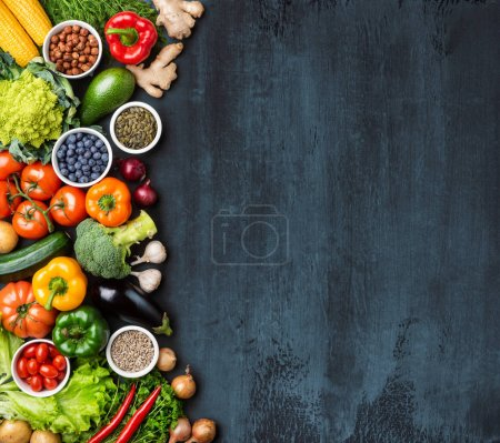 Photo for Dieting and healthy eating concept: fruits, vegetables, vegan food, nutrition ingredients over natural background. - Royalty Free Image