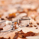 Glasses on autumn foliage. Lost glasses as symbol ...
