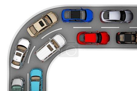 gire la vista superior de la carretera de tráfico