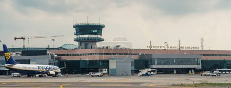 BOLOGNA, ITALY - CIRCA MARCH, 2017: Control Tower of Bologna airport. The airport is named after Bologna native G. Marconi, an Italian electrical engineer and Nobel laureate.