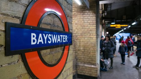 LONDON, UNITED KINGDOM - CIRCA JANUARY, 2018: Bayswater Station. The Underground system serves 270 stations and has 402 kilometres (250 mi) of track, 45 per cent of which is underground.
