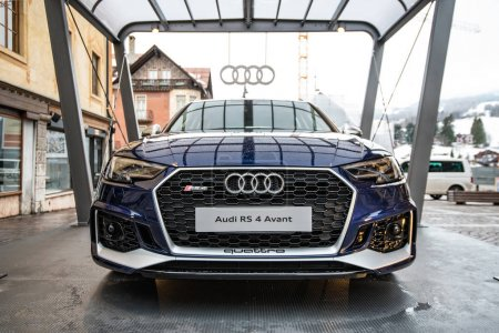 CORTINA, ITALY - CIRCA DECEMBER, 2017: Audi sportscar RS4 avant exposition in the street. Front view.