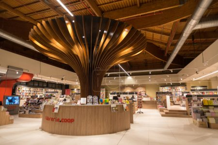 BOLOGNA, ITALY - CIRCA DECEMBER, 2017: Coop book store inside Fico Eataly World, located in Bologna, is the largest agrofood park in the world. Internal view.