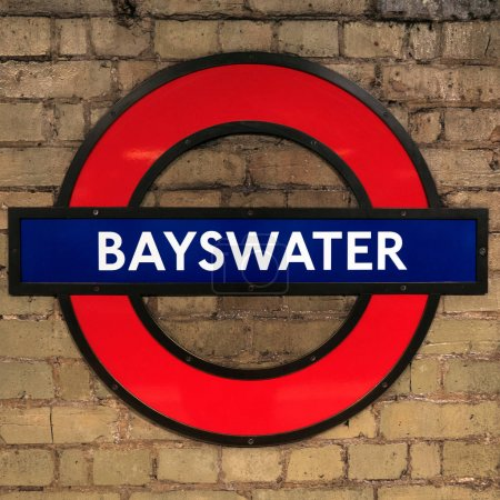 LONDON, UNITED KINGDOM - CIRCA JANUARY, 2018: Bayswater Station symbol. The Underground system serves 270 stations and has 402 kilometres (250 mi) of track, 45 per cent of which is underground.